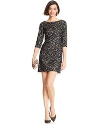 Tahari By Asl Contrast Lace Tiered Dress - Lyst