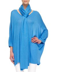 Michael Kors Blue Knit Scarf - Lyst