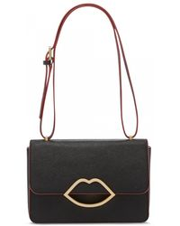 Lulu Guinness Black Crosshatched Leather Edie Briefcase - Lyst