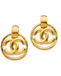 What Goes Around Comes Around Vintage Chanel Cc Circle Earrings - Gold - Lyst