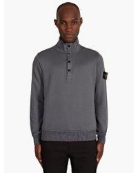 Stone Island Mens Grey Garment Dyed High Neck Sweatshirt - Lyst