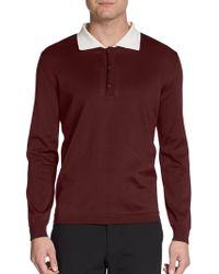 Burberry Prorsum Silk-blend Long-sleeve Polo Shirt - Lyst