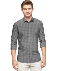 Calvin Klein Ombre Check End On End Roll Sleeve Sportshirt - Lyst