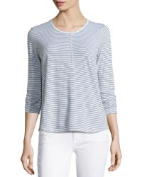 James Perse Striped Long-Sleeve Henley Tee - Lyst