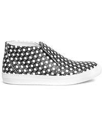 Pierre Hardy Cube Print Leather Slip-Ons - Lyst