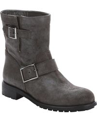 Jimmy Choo | Mist Shimmered Suede 'youth' Buckled Biker Boots | Lyst