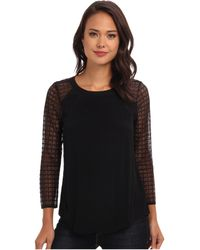Rebecca Taylor Long Sleeve Crepe Top with Lace - Lyst