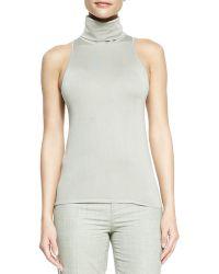 Ralph Lauren Collection Sleeveless Silkcashmere Turtleneck Top Silver - Lyst