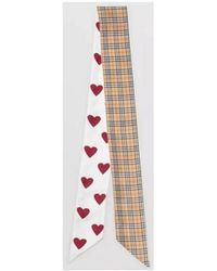 Burberry - Small Scale Check And Heart Print Silk Skinny Scarf 20226 - Lyst
