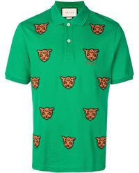 b6a9062a97de Gucci Tiger Embroidered Polo Shirt in Green for Men - Lyst