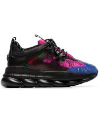 8f82f28935 Versace - Black And Multicoloured Chain Reaction Sneakers - Lyst