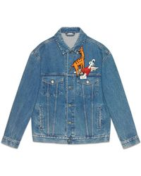32bbd800c Gucci Denim Jacket With Embroideries in Blue for Men - Lyst