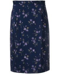Blumarine - Floral-print Pencil Skirt - Lyst