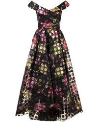 Marchesa notte Off-the-shoulder Floral Dress - Zwart