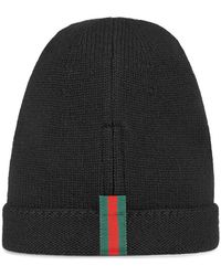d6b22acffc590 Gucci Web-trimmed Beanie Hat in Black for Men - Lyst