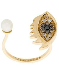 Delfina Delettrez - 18kt Yellow Gold Eyes On Me Piercing Ring - Lyst