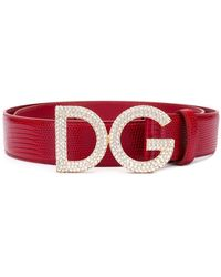 Dolce & Gabbana - Embellished Logo Buckle Belt - Lyst