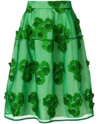 P.A.R.O.S.H. - Floral Embroidered Midi Skirt - Lyst