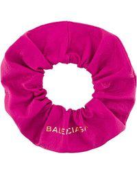 Balenciaga - Pink Leather Chouchou Scrunchy - Lyst