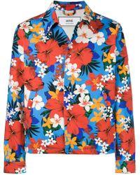 AMI - Floral Denim Jacket - Lyst