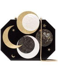 Nathalie Trad - Black Lucia Moon Print Shell Clutch Bag - Lyst