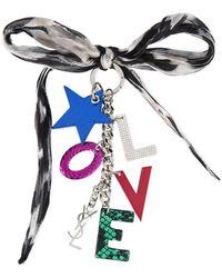 Saint Laurent - Multicoloured Silk And Logo Key Ring - Lyst