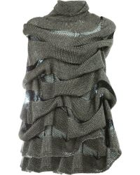Masnada - Layered Knitted Cape - Lyst