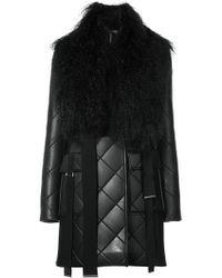 David Koma | Quilted Coat With Shearling Collar | Lyst