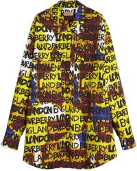 Burberry - Graffiti Print Stretch-cotton Shirt - Lyst