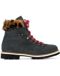 Mr & Mrs Italy - Grey Leopard Mink Fur Lined Ankle Boot - Lyst