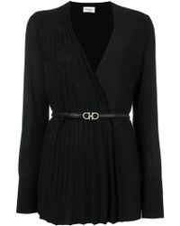 Ferragamo - Pleated Panel Belted Cardigan - Lyst