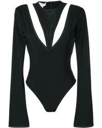 4274d18bd6b3 Aries Logo Print Mesh Bodysuit in Black - Lyst