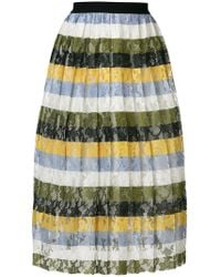 Essentiel Antwerp - Striped Floral Lace Skirt - Lyst