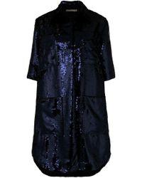 8c4d9199c67 Miu Miu Sequin-trimmed Crepe Wool Coat in Blue - Lyst