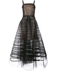 Oscar de la Renta Sequin Band Embroidered Dress
