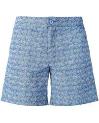 Fashion Clinic Lines Print Swim Shorts - Blue