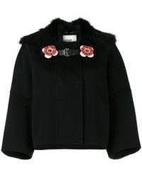 Fendi - Fox Collar Cropped Coat - Lyst