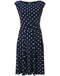 Lauren by Ralph Lauren - Polka Dot Pleated Dress - Lyst