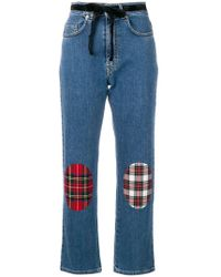 Isa Arfen - Tartan Knee Patch Jeans - Lyst