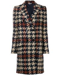 Tonello - Houndstooth Double-breasted Coat - Lyst