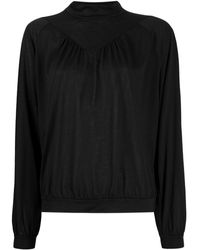 Closed Long-sleeve Fitted Blouse - Black