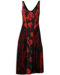 Roberto Cavalli - Floral Print Midi Dress - Lyst