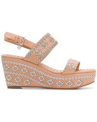 f765d4f9ffea13 Tory Burch - Woven Slingback Wedge Sandals - Lyst