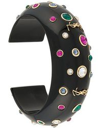 Saint Laurent - Eighties Cuff Bracelet In Black Resin With Blue, Red And White Crystals - Lyst