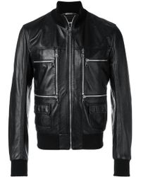 Dolce & Gabbana - Zip Front Leather Jacket - Lyst