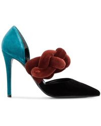 Marco De Vincenzo - Pointy Velvet Pumps With Braided Strap - Lyst