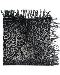 Saint Laurent - Animal Print Scarf - Lyst
