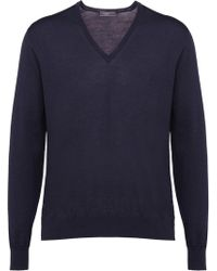 Prada - Knitted v-neck sweater - Lyst