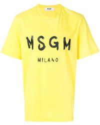 MSGM - Branded T-shirt - Lyst
