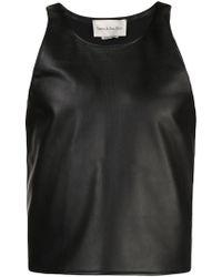 d7cc8149a1a9e Lyst - En Noir Black Leather Pin Tuck Tank Top in Black for Men